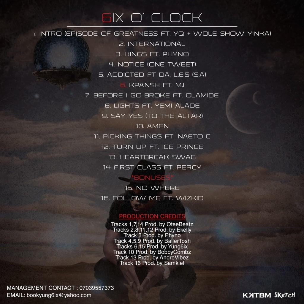 Yung6ix - 6ix O' Clock Album Art [BACK]