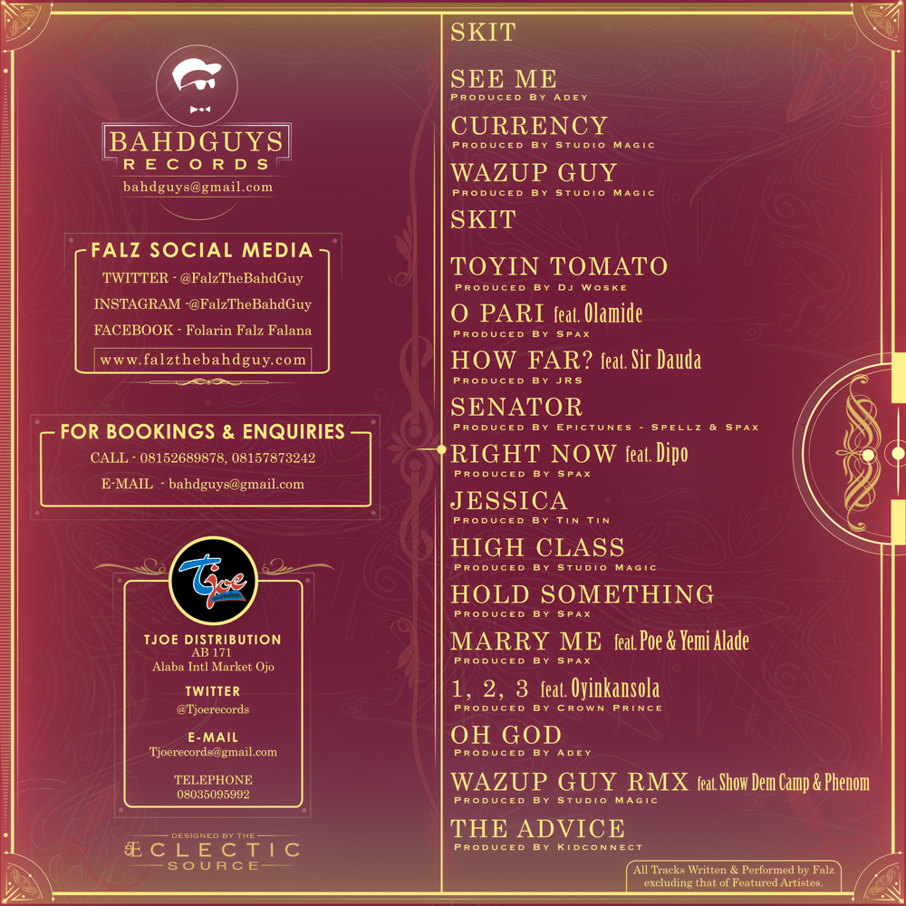 Falz - Wazup Guy [Back Cover]