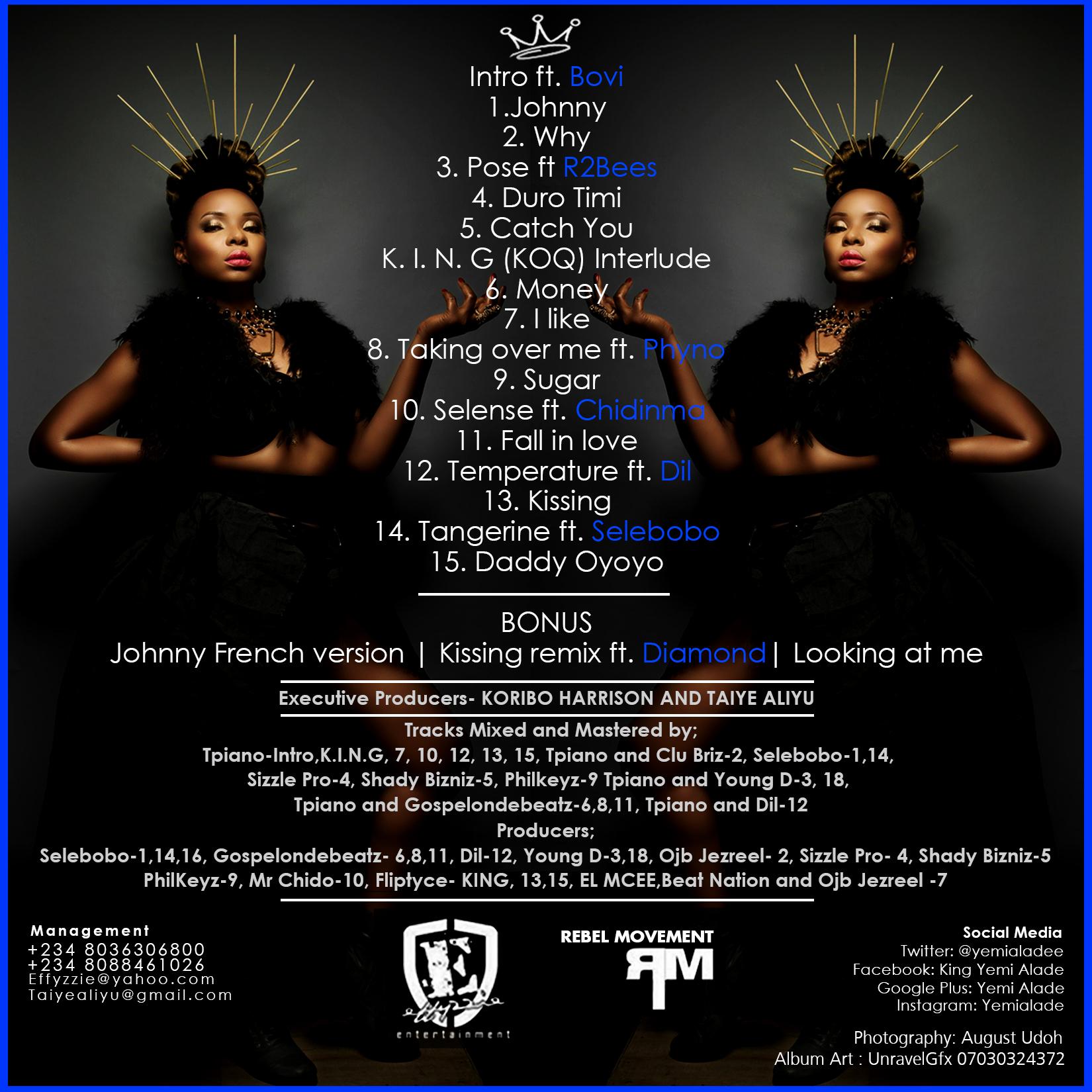 Yemi Alade - King Of Queens [Album Art Back]