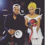 Chidinma And Flavor Pictured On A Music Video  Set