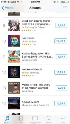 Mama Africa on iTunes France Albums Chart