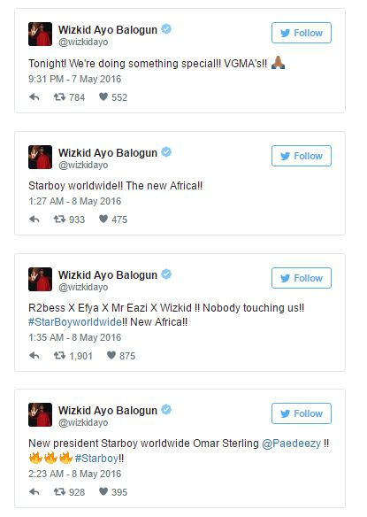 Wizkid Tweets for Starboy Announcement