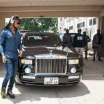 He Rolls Big: Flavour Pictured Arriving Ghana Media House In Rolls Royce