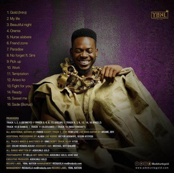Adekunle Gold - GOLD [Album Tracklist]