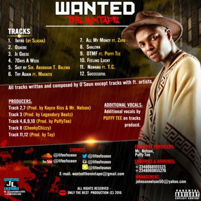 O'Seun - #WantedTheMixtape [Tracklist]