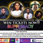 WIN TICKETS NOW!!! To The Main Supremacy Concert With Olamide, Sir Shina Peters, Tiwa Savage, D'Banj, Tekno and 9ice – Sunday, 1st October 2017