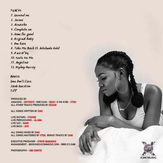 Simi Features Only Adekunle Gold On #SIMISOLAtheALBUM | See Tracklist