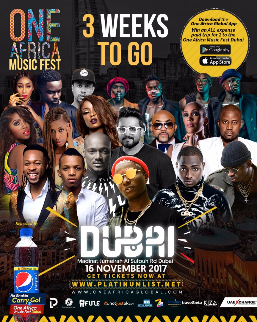 3 Weeks To Go!!! Countdown To One Africa Music Fest Dubai With WizKid, Davido, Tekno, Diamond Platnumz, Sarkodie, Vanessa Mdee, Cassper Nyovest, Tiwa Savage, 2Baba, Adel Ebrahim & Many Others!