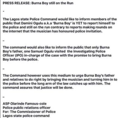 Spaceship Entertainment Lied, Burna Boy Is Still On The Run – Police Burna Boy Police
