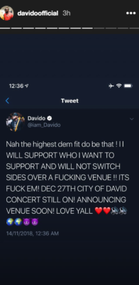 Lagos State Government Disapproves Davido's Concert Venue As He Blows Red Hot, Firing Back At Them