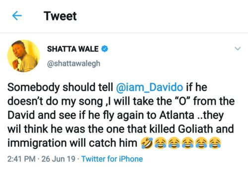 Breaking!!! Shatta Wale Threatens To Get Davido Arrested In America