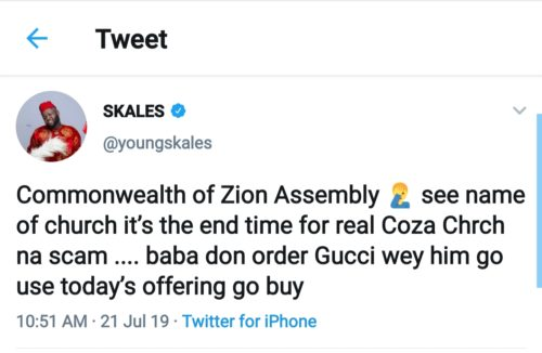 Skales Drags COZA Founder, Pastor Fatoyinbo Over Rape Allegation