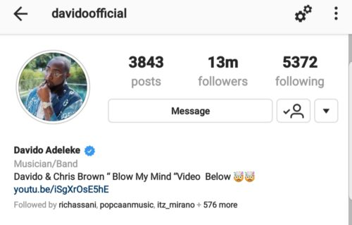 Davido Stretches Lead Over Other Nigerian Artistes On Instagram As He Reaches 13 Million Followers 1