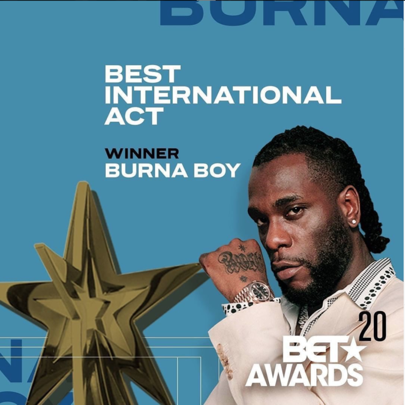 Burna Boy BET Awards Best International Act 2020
