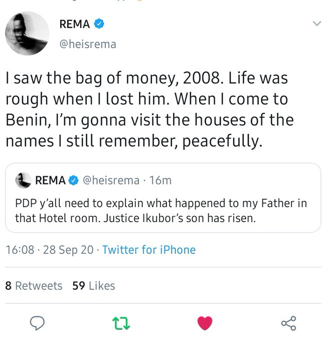 Rema Challenges PDP Over The Strange Death Of His Father 12 Years Ago 2
