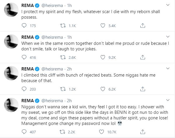 Rema Goes Wild On Twitter, Calls Out People Who Are Jealous Of His Success & Fame 6