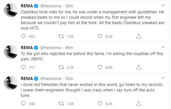 Rema Goes Wild On Twitter, Calls Out People Who Are Jealous Of His Success & Fame 8