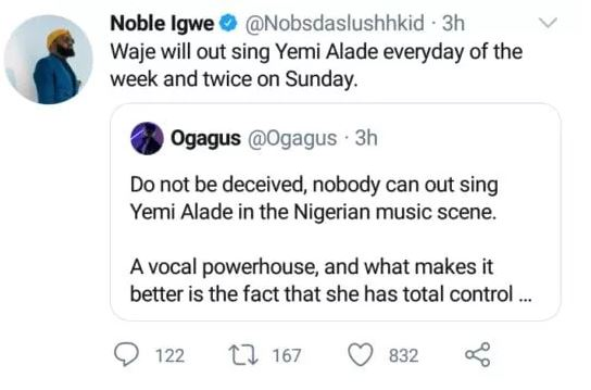 Waje Slams Noble Igwe & Ogagus For Comparing Her To Yemi Alade 2