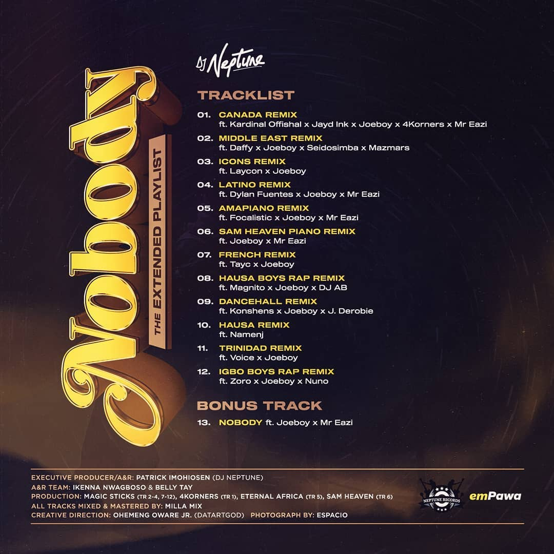Ep Dj Neptune Nobody The Extended Playlist Worldwide Remixes Tooxclusive Icon, neptune, joeboy pon deck. ep dj neptune nobody the extended