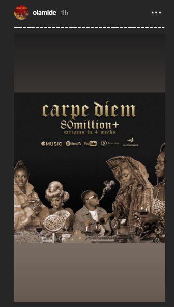 """Olamide's """"Carpe Diem"""" Surpasses 80 Million Streams In 4 Weeks 1"""
