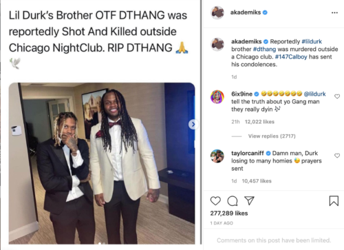 Tekashi 6ix9ine Taunts Rapper, Lil Durk Over Death Of His Brother, OTF DThang #Arewapublisize